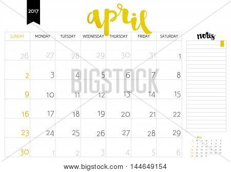 Vector Simple Planning Calendar April 2017 With A Place For Notes. Weeks Start On Sunday. Calligraph