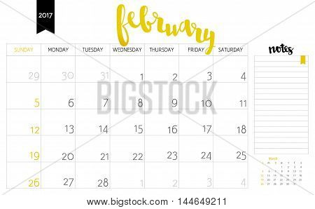 Vector Simple Planning Calendar February 2017 With A Place For Notes. Weeks Start On Sunday. Calligr