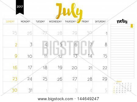 Vector Simple Planning Calendar July 2017 With A Place For Notes. Weeks Start On Sunday. Calligraphy