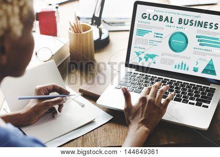 Business Managment Marketing Global Plan Concept