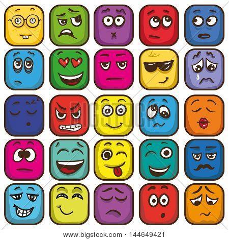 Set of colorful emoticons, sqare emoji flat. Vector Illustration.