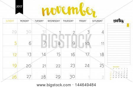 Vector Simple Planning Calendar November 2017 With A Place For Notes. Weeks Start On Sunday. Calligr