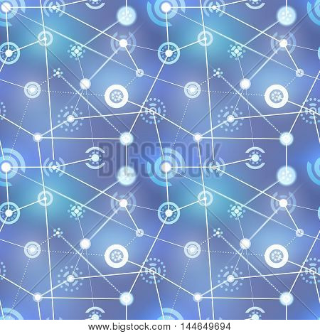 Neural net abstract technology signs on blurred background seamless pattern
