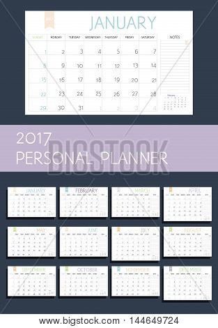 Personal Color Planning. Set Of 12 Pages Calendar 2017. Week Starts On Sunday. Vector Template