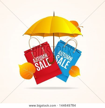 Autumn Sale Card with Umbrella and Paper Bags. Vector illustration