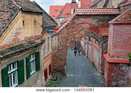 View of the street of Sibiu city centre Transylvania Romania