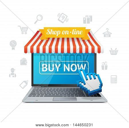 Online Shopping and E-commerce with App. Buying from House. Vector illustration