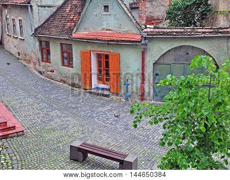 Empty street of Sibiu city Transylvania Romania
