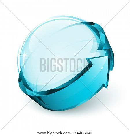 seta e esfera brilhante