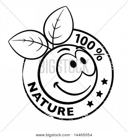 Stamp Of A Organic Smiley With Leaves