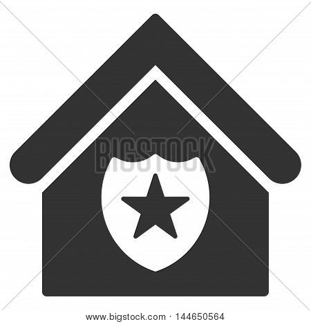 Realty Protection icon. Glyph style is flat iconic symbol, gray color, white background.