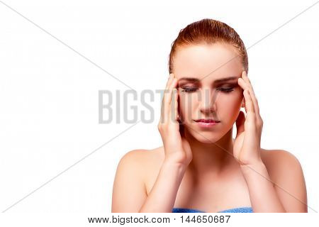 Woman with headache isolated on white