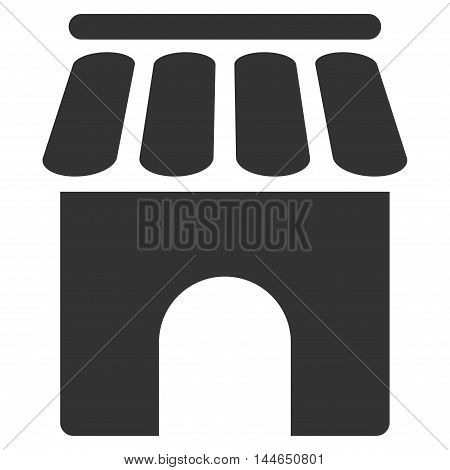 Shop Building icon. Glyph style is flat iconic symbol, gray color, white background.