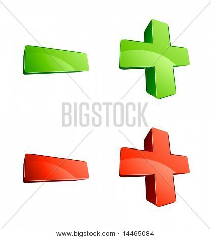 3d Green And Red Plus And Minus Signs