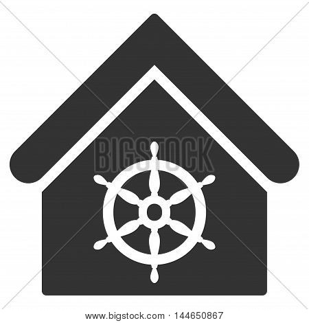 Steering Wheel House icon. Glyph style is flat iconic symbol, gray color, white background.
