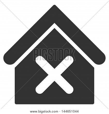Wrong House icon. Glyph style is flat iconic symbol, gray color, white background.