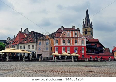 SIBIU ROMANIA - MAY 4: View of townsquare of Sibiu old town Romania on May 4 2016. Sibiu is the city located in Transylvania region of Romania.