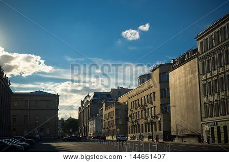 Moscow, Russia - August 25, 2016: View on the Vozdvizhenka street with city houses and walking people.