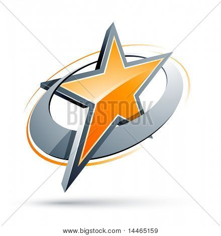 Orange Star In einem Chrom-Kreis