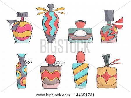 Set of stylish, colorful perfume bottles. Cute, trendy perfumes.
