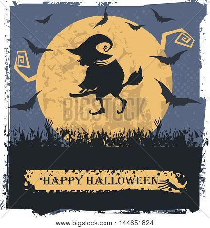 Vector image with Flying Witch On Broom. Can be used for Halloween card, greeting card ,poster and banner.