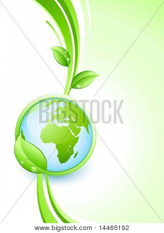 Hojas y tierra verde