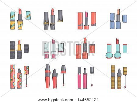 Set of cute, stylish lipsticks. Lipstick collection, isolated.