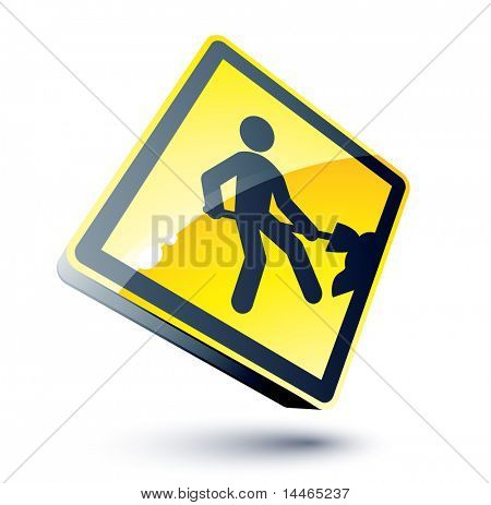 Yellow work sign