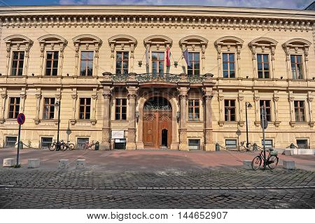 BUDAPEST HUNGARY - MAY 20: Facade of Andrassy (AUB) university building in Budapest city on May 20 2016. Andrassy university is a private university in Budapest Hungary.