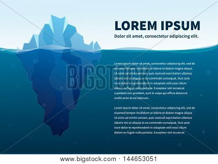 Big iceberg in the sea concept flat illustration with text a4 size template