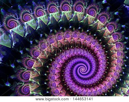 Abstract fractal background - digitally generated image. Digital art: large colored spiral. For prints, covers, posters.