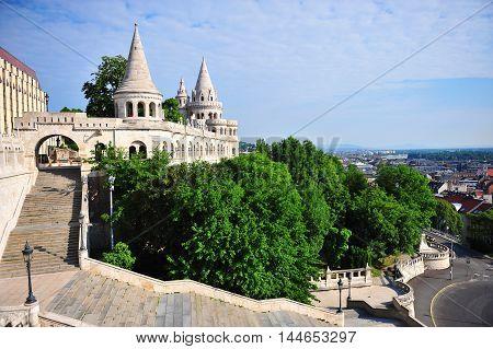 Panorama of Fisherman's bastion Budapest city Hungary