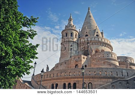 Towers of Fisherman's bastion with a nice morning light Budapest