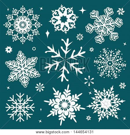 White snowflakes icon on green background. Collection graphic art for your design Merry Christmas and Happy New Year.