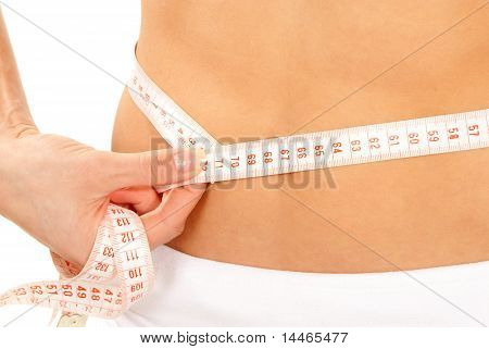 Athletic Fit Slim Female Measuring Around Her Waist
