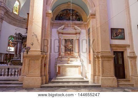 PRCANJ, MONTENEGRO - JULY 23, 2015: The Catholic Church of the Birth of the Virgin Mary in Prcanj, Montenegro, on July 23, 2015