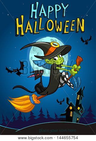 Halloween witch with broomstick isolated on night background. Vector Halloween party invitation template. Halloween elements witch cat bat haunted house moon