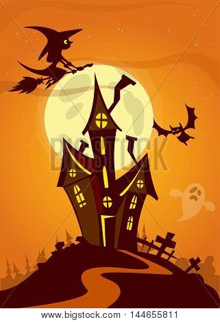 Halloween haunted house. Vector illustration of scary haunted house with full moon beghind and flying witch
