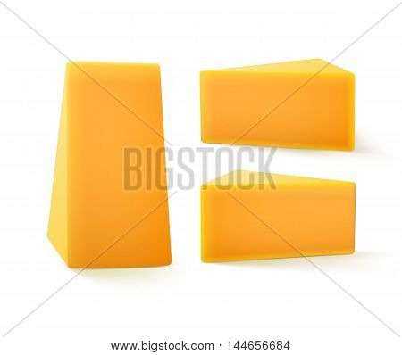 Vector Set of Triangular Pieces of  Cheddar Cheese Close up Isolated on White Background