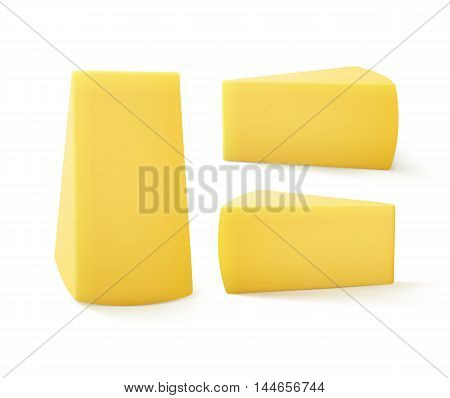 Vector Set of Triangular Pieces of Cheese Close up Isolated on White Background