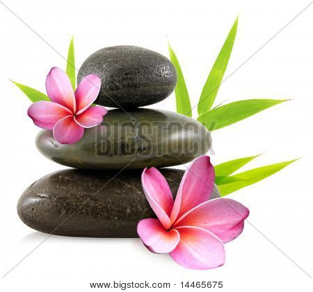Pebbles and frangipani flowers