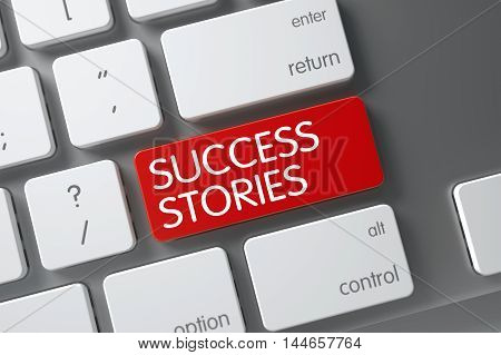 Success Stories Concept Metallic Keyboard with Success Stories on Red Enter Keypad Background, Selected Focus. 3D.
