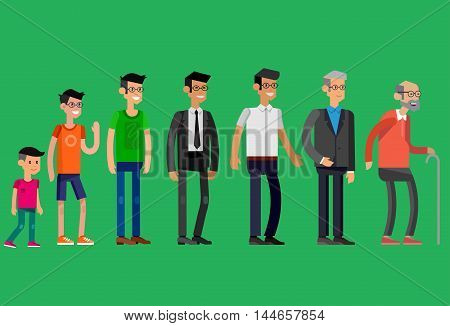 Detailed character man Generations . All age categories - infancy, childhood, adolescence, youth, maturity, old age. Stages of development