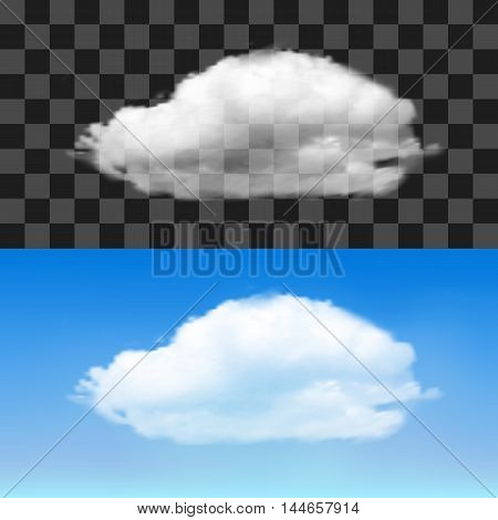 Realistic cloud on transparent background. Vector illustration