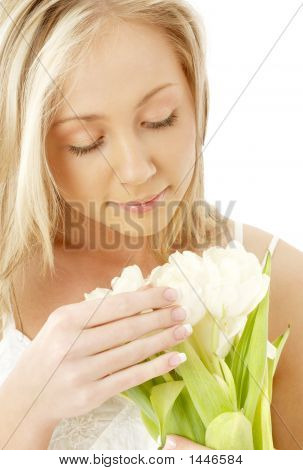 Lovely Blond With White Tulips