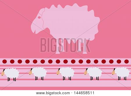 The big sheep in the middle and small sheep below on pink background