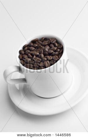 Coffee Cup Full Of Coffee Bean