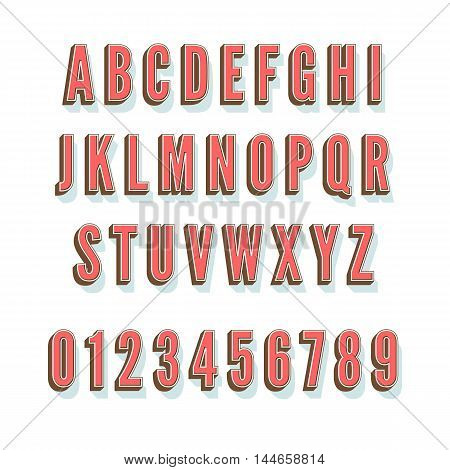 Vintage, retro 3d alphabet with shadow and volume on white background, isolated vector illustration. All the letters on separate layers