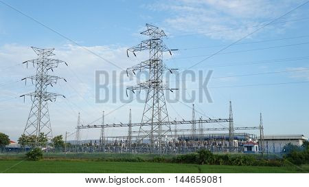 Electricity  power station and pylons
