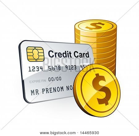 Credit card and dollar coins